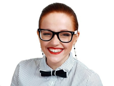 portrait of young business woman or teacher wearing eye-glasses with big white smile red lips Stock Photo - 13401265