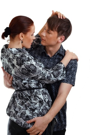 young couple in love  studio shot over white background Stock Photo - 13401430