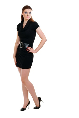 Full portrait of a beautiful adult sensuality woman in black dress posing over white background Stock Photo - 13876055