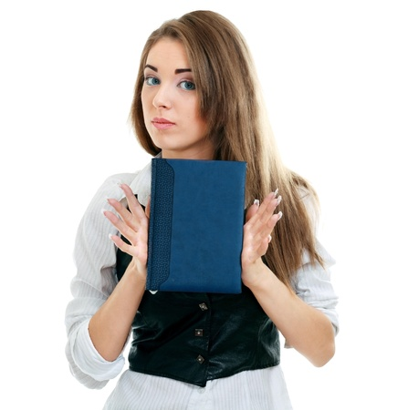 An isolated shot of a beautiful student girl showing a book with blank cover making presentation Stock Photo - 13883555