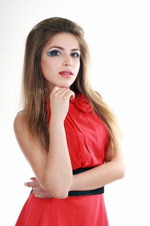 beautiful fashionable posing woman in red dress tunic isolated over white Stock Photo - 13876511