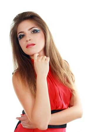 beautiful fashionable posing woman in red dress tunic isolated over white Stock Photo - 13876491