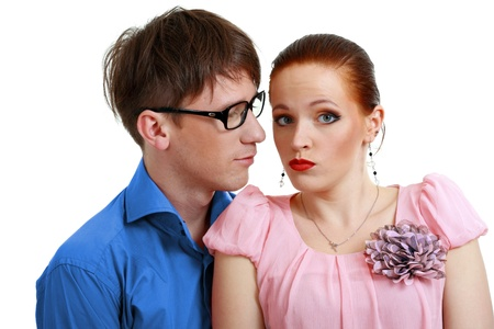 businessman harassment at his coworker woman Stock Photo - 13876551