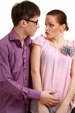 sexual abuse: businessman harassment at his coworker woman Stock Photo