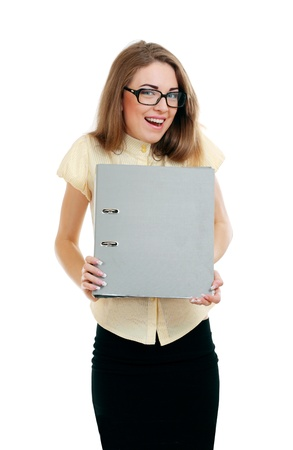 Happy Young business woman or teacher with a document folder in yellow shirt and glasses photo