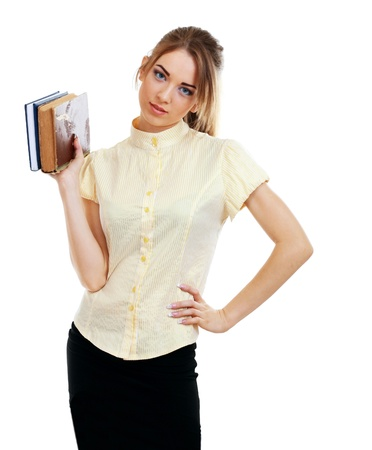portrait of young student holding a old book over white background Stock Photo - 14030326