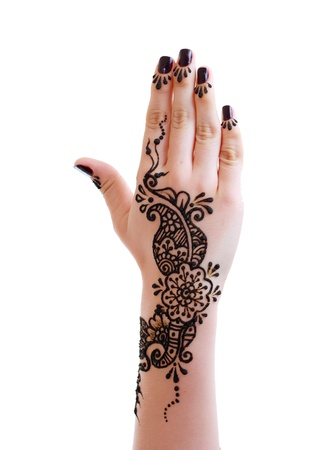 Image detail of henna being applied to hand isolated over white
