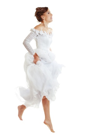 Pretty Caucasian Runaway or Jumping Bride photo