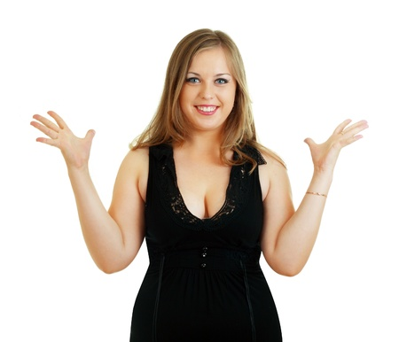 plus size: beautiful plus size model surprised and raises her hands with charming smile