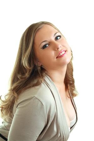 curvy woman: portrait of beautiful plus size model with amazing blue eyes
