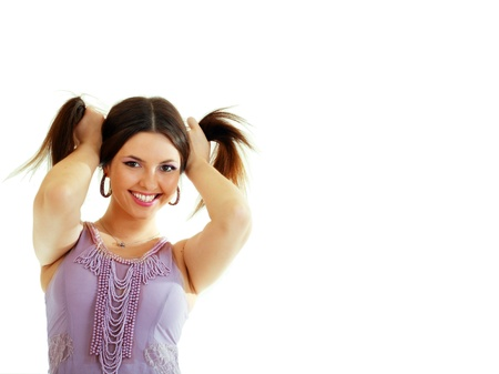 beauty woman portrait of teen girl enjoying with long brown hair and having fun isolated on white background Stock Photo - 14697119