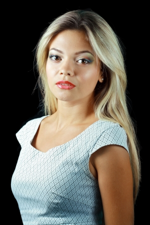 eyeshades: Gorgeous Young model beautiful blond women with perfect make up and perfect skin over black background Stock Photo