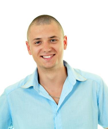 Portrait of happy bold smiling man, isolated on white photo