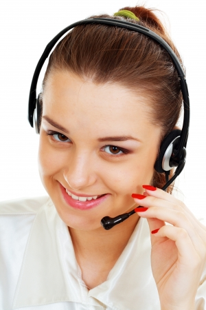 hands free device: Telemarketing headset woman from call center smiling happy talking in hands free headset device.