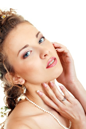 face of pensive fiancee with make-up beautiful woman with blue eyes Stock Photo - 14697262