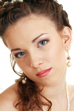 face of pensive fiancee with make-up beautiful woman with blue eyes Stock Photo - 14697276
