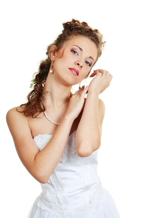 fiancee: face of pensive fiancee with make-up beautiful woman with blue eyes