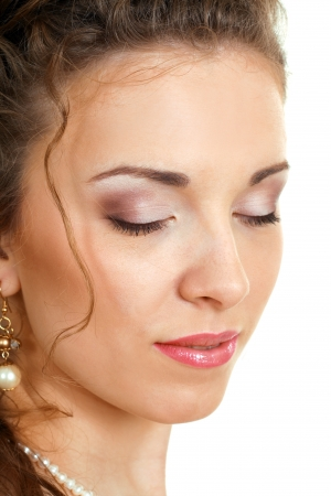 Beautiful Young Woman Face closed eyes isolated close-up Stock Photo - 14697263