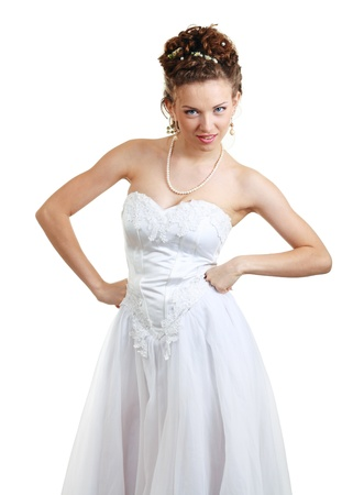 Bride doing expressions on white background photo