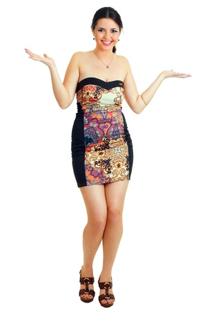 Confused woman full length asking and shrugging with palms up. Pretty woman isolated on white background. Stock Photo - 14697162