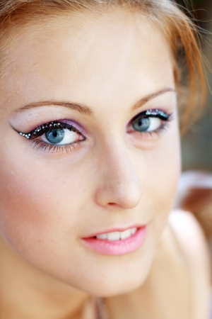 Gorgeous Young model beautiful women with perfect make up and perfect skin close up outdoor Stock Photo - 14774556