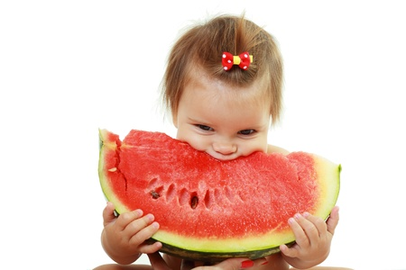 cute little baby girl eating watermelon slice on white background photo