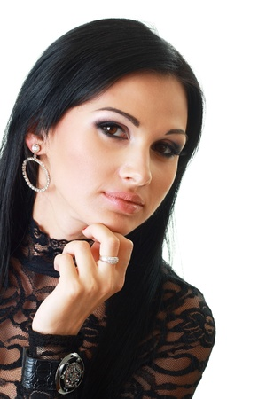 smoky eyes: Gorgeous Young model beautiful women with perfect make up smoky eyes close up Stock Photo