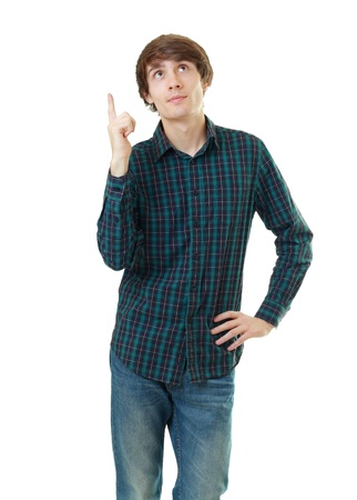 coming up with: Happy young man coming up with an idea or solution pointing up with finger Stock Photo