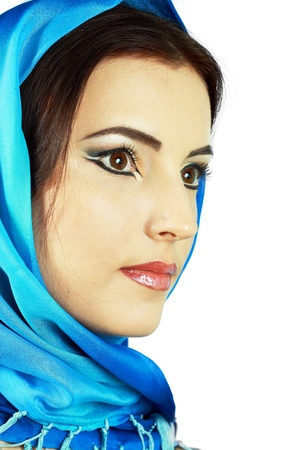Portrait of sensual woman model with arabic bright make-up