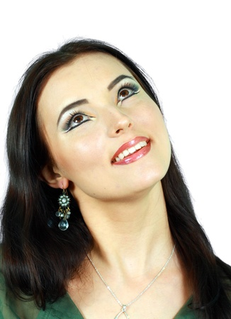arab model: Portrait of sensual woman model with arabic bright make-up smiling and looking up