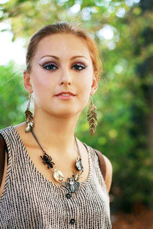 eyeshades: Gorgeous Young model beautiful women with perfect make up and perfect skin close up outdoor Stock Photo