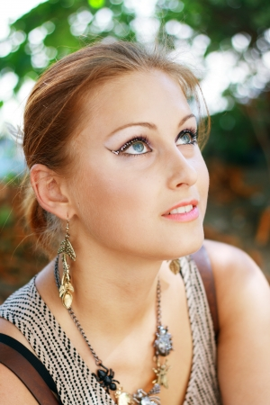 Gorgeous Young model beautiful women with perfect make up and perfect skin close up outdoor Stock Photo - 17047763