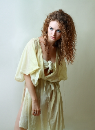 smoky eyes: Gorgeous Young model beautiful women with perfect make up smoky eyes weared in rug halloween costume
