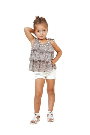 cute 5 years old girl isolated over white backgound photo