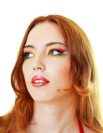 Close-up portrait of fashion woman mode facel with beauty bright make-up photo
