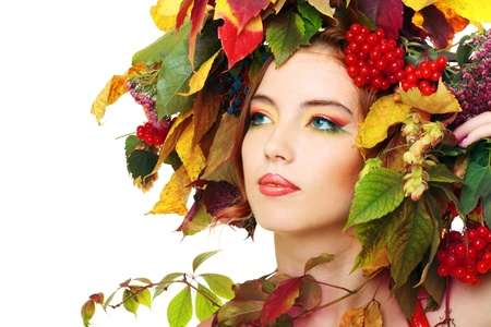 Autumn Woman. Beautiful makeup isolated over white background photo