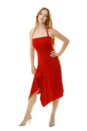 young woman in red dress isolated on white background photo