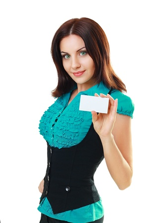 A beautiful woman holds out a business or credit card Isolated on white background photo
