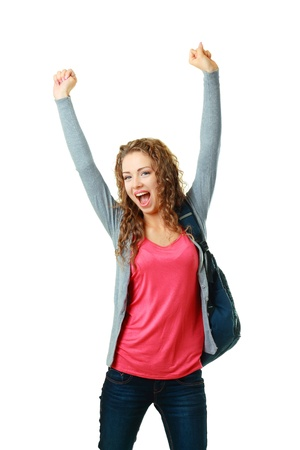 happy student girl raising her hands showing success Stock Photo - 17047783