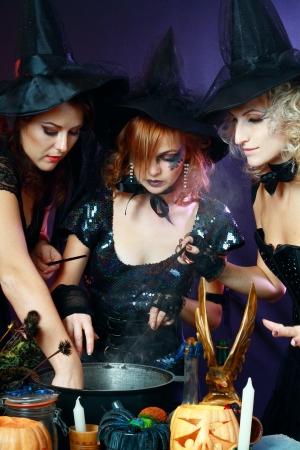 cauldron: Three beautiful sexy charming halloween witches making potion