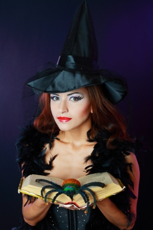 young brunette woman dressed as a fairy with magic book and spider in corset photo