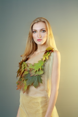 beautiful blond female model young woman wearing carnival dress dryad photo