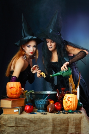 Two charming halloween witches making potion  over dark background Stock Photo - 17067507