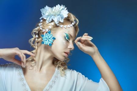 snow-queen. Young woman in creative image with silver blue artistic make-up and perfect hairstyle. Stock Photo - 17130130