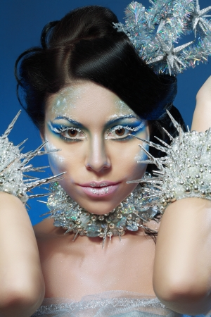 Ice-queen. Young woman in creative image with silver blue artistic make-up and perfect hairstyle. Stock Photo - 17104692