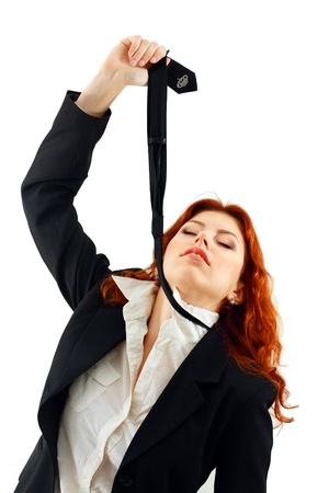 Depressed businesswoman strangle suicide with self tie photo