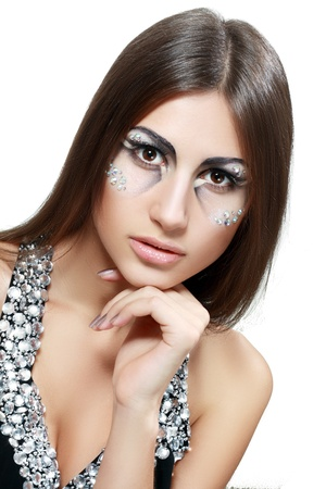 Gorgeous Young model beautiful women with perfect art make up and long false Stock Photo - 17506602