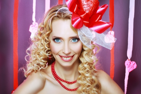 blondy: beautiful Valentines woman playful joyful and excited smiling