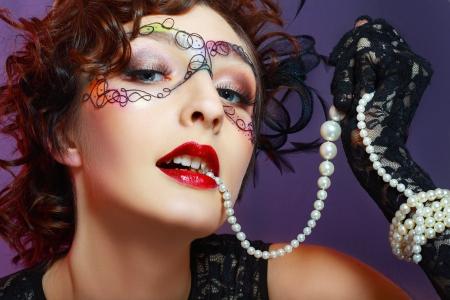 Gorgeous Young model beautiful women with perfect art make up and long false eyelashes Stock Photo - 17621097
