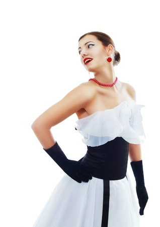 avantegarde: Beautiful woman in glamour white evening dress and black gloves